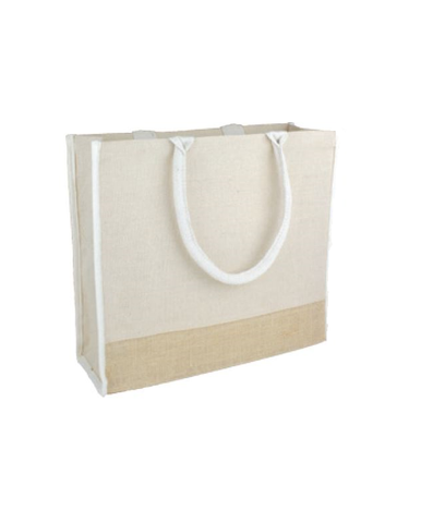 Large Reusable Jute Blend Tote Bags Burlap Accents and Full Gusset - TJ913