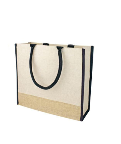 48 ct Large Reusable Jute Blend Tote Bags Burlap Accents and Full Gusset - By Case