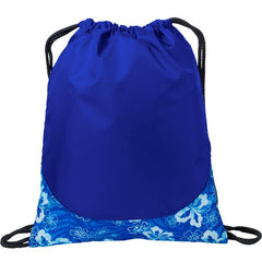 Wholesale drawstring bags cheap Tropical Royal/ White