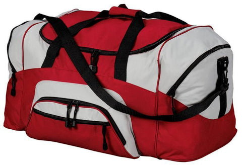 Poly Colorblock Sport Duffel  With Two Large Zippered Pockets