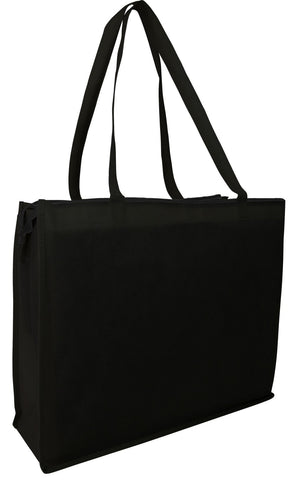 50 ct Zippered Large Tote Bags - Reusable Grocery Bags - Pack of 50