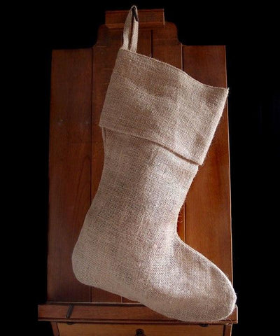 "17"" Burlap / Jute Christmas Stocking Bulk - CS152"