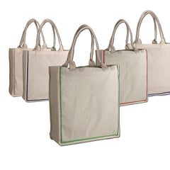 Cotton Color Stripe Shopping Tote Bags