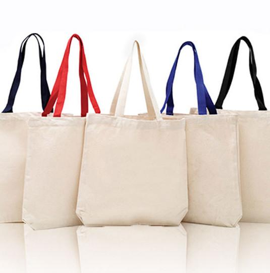 Cotton Canvas Tote Bag - Canvas Tote Bags with Contrast Handles ... 8bc23fb2b519