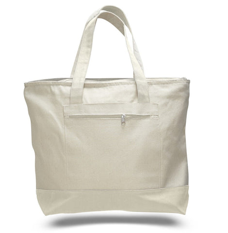 72 ct Heavy Canvas Zippered Shopping Tote Bags - By Case