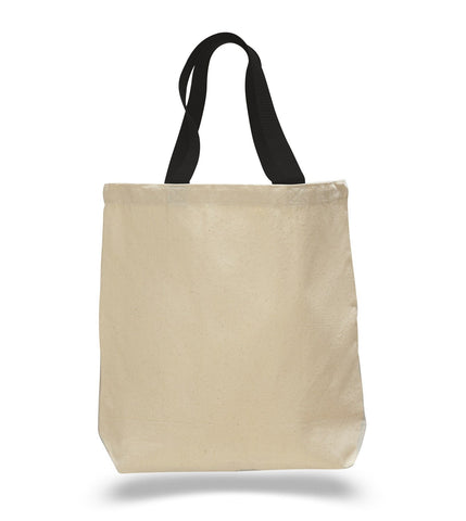 100% Cotton Canvas Tote Bags with Color Handles - TG244