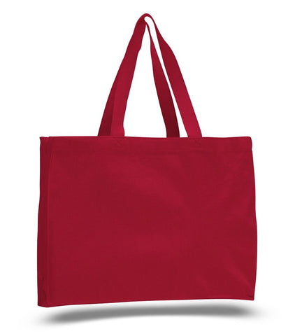 12 ct Full Gusset Heavy Canvas Affordable Horizontal Tote Bags - By Dozen