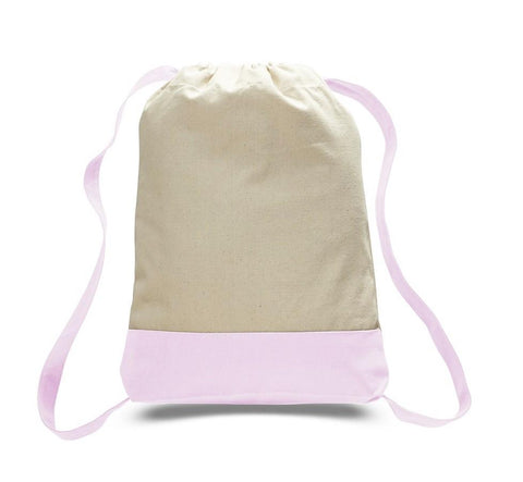 Two Tone Canvas Backpacks / Drawstring Bags - BPK57 (CLOSEOUT)