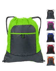 Cheap Drawstring Bags Colors,Two Tone Pocket Cinch Pack