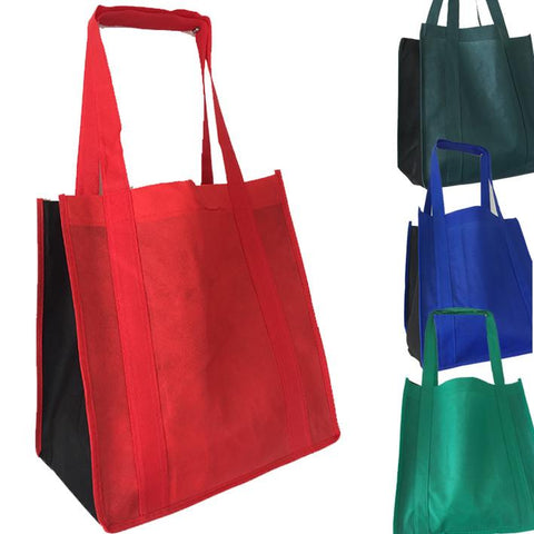 Two-Tone Grocery Shopping Tote Bag Wholesale with PL Bottom - TOB502  (CLOSEOUT)