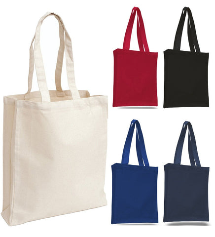 12 ct Affordable Canvas Tote Bag / Book Bag with Gusset - By Dozen
