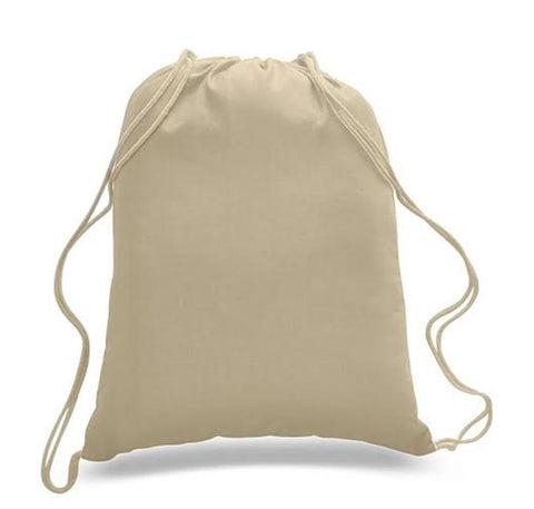Set of 100 - High Quality Canvas Drawstring Bag Cinch Packs- Blank BPK388