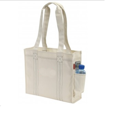 600D Polyester Deluxe Tote Bag with Easy Access Side Pocket (CLOSEOUT)