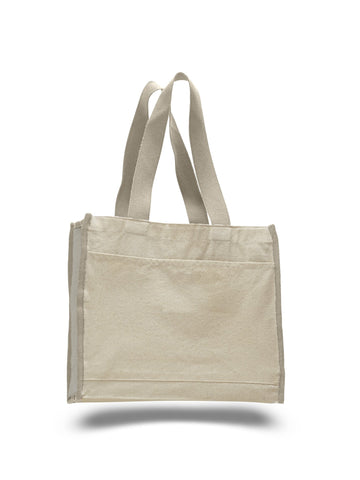 Heavy Canvas Tote Bag with Colored Trim