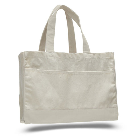 Cotton Canvas Tote Bag with Inside Zipper Pocket