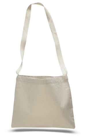 12 ct Small Messenger Canvas Tote Bag with Long Straps - By Dozen