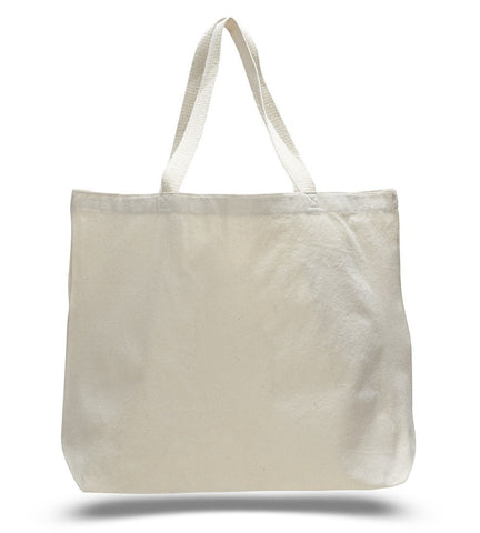 12 ct Large Canvas Wholesale Tote Bag with Long Web Handles - By Dozen