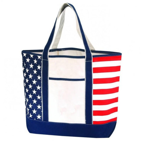 Large Sturdy Canvas Tote Bag w/ US Flag Imprint - Made in USA