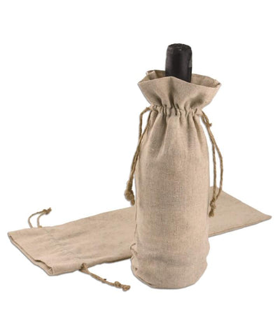 Cotton-Jute Wine Bags with Natural Jute Drawstrings - Single Bottle