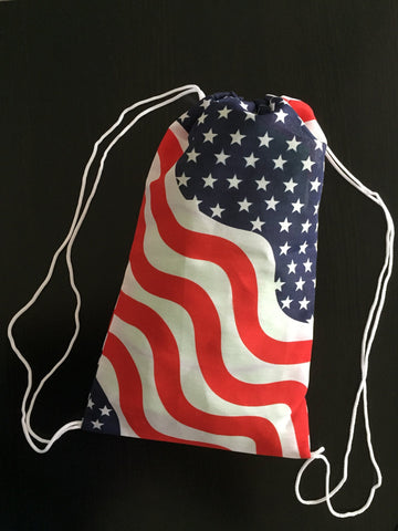 Small Cotton American Flag Drawstring Bag