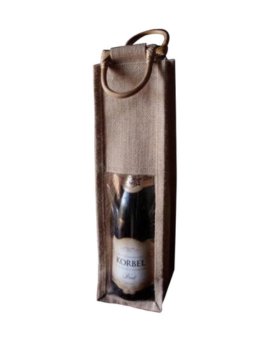100 ct Single Bottle Burlap Gift Wine Bags with Wooden Handles & PVC Window - By Case