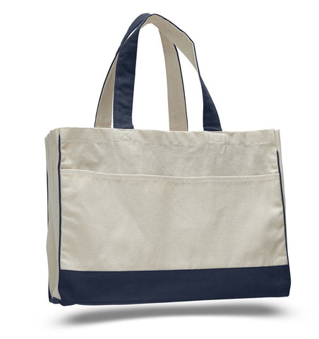 12 ct Cotton Canvas Tote Bag with Inside Zipper Pocket - By Dozen
