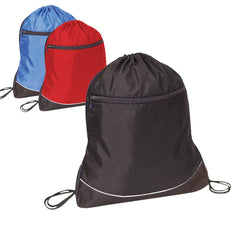 Stripe Nylon Drawstring Bag / Cinch Pack with Zipper Pocket. BPK321