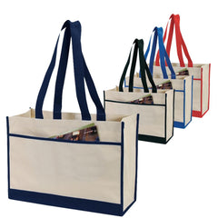 Two-Tone Polyester Tote Bag W/Side Pocket