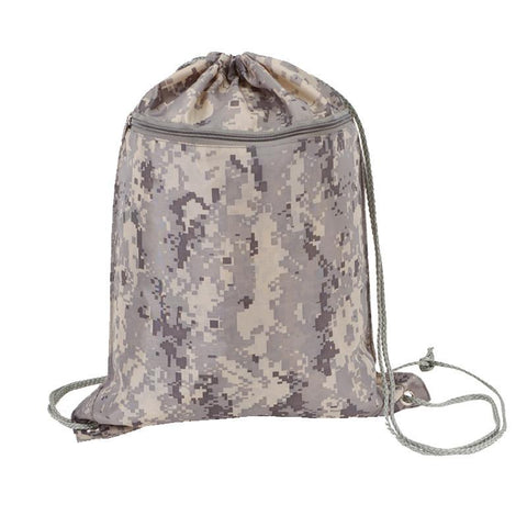 12 ct Digital Camo Drawstring Backpack - By Dozen