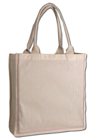 100% Cotton Color Stripe Shopping Tote Bags W/Fancy Handles