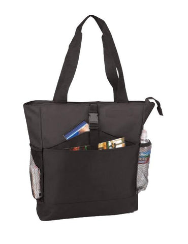 Zippered Poly Tote Bag with Side and Front Pockets