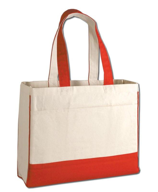 236eed3b03b2 ... Best Quality Red Cotton Canvas Tote Bag with Inside Zipper Pocket ...