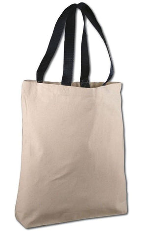 144 ct 100% Cotton Canvas Tote Bags with Color Handles - By Case