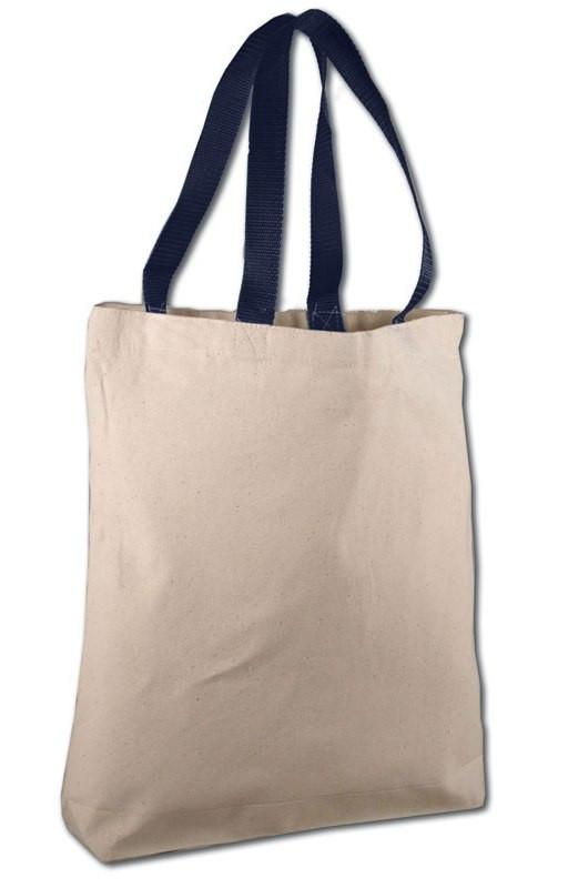 ... Quality Cotton Canvas Tote Bags with Navy Handles for Wholesale ... 31bba6032