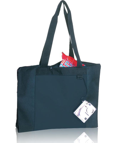 Economical Zipper Tote Bag with Long Handles
