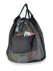 Nylon Mesh Cinch Bag with Front Pocket