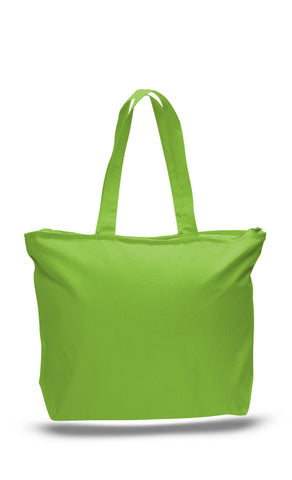 Heavy Canvas Zipper Tote Bag with Long Handles - TG261 (CLOSEOUT)