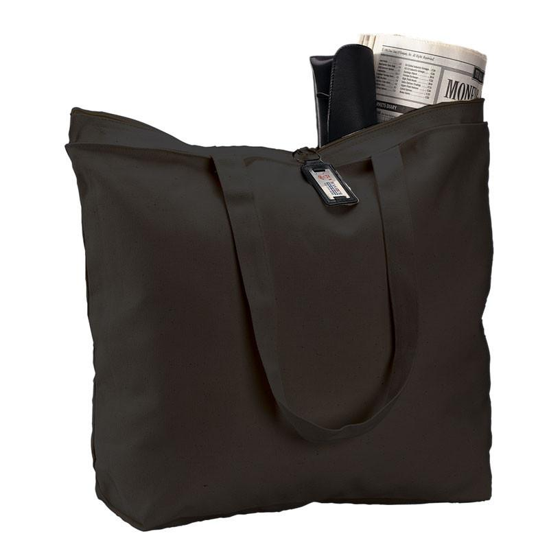 3f56f793633793 ... Promotional Black Heavy Canvas Zippered Tote Bag with Long Handles ...