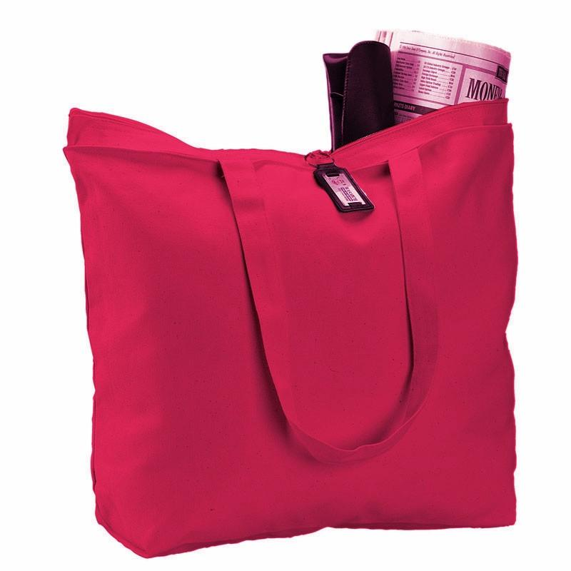482c2003f5cee7 ... Red Heavy Canvas Zippered Totes with Long Handles for Wholesale ...