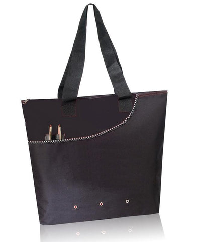 Deluxe Polyester Tote Bag with Zipper Closure (CLOSEOUT)