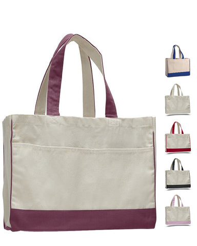 48 ct Cotton Canvas Tote Bag with Inside Zipper Pocket - By Case
