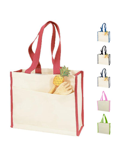 12 ct Heavy Canvas Tote Bag with Colored Trim - By Dozen