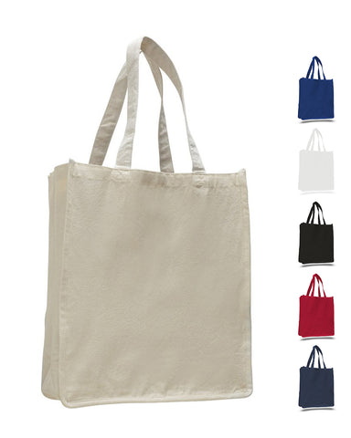 72 ct Jumbo Size Heavy Canvas Wide Shopper Tote Bag - By Case