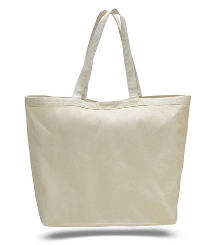 12 ct Extra-Large Heavy Canvas Tote Bags with Hook and Loop Closure - By Dozen