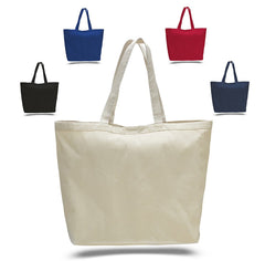 Large Heavy Canvas Tote Bag - Tote Bags with Hook and Loop Closure