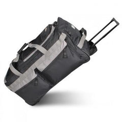 Bulk Black / Charcoal Rolling Duffel Bag - Large Side Wholesale