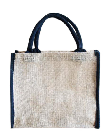 48 ct Small Jute Tote Favor Bags with Black Cotton Trim - By Case