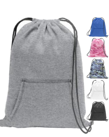 6 ct Stylish Sweatshirt Cinch Pack Drawstring Backpack - Pack of 6