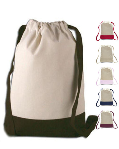 12 ct Two Tone Canvas Sport Backpacks / Wholesale Drawstring Bags - By Dozen