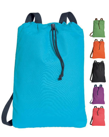 12 ct 100% Canvas Twill Drawstring Bags / Backpacks. - By Dozen
